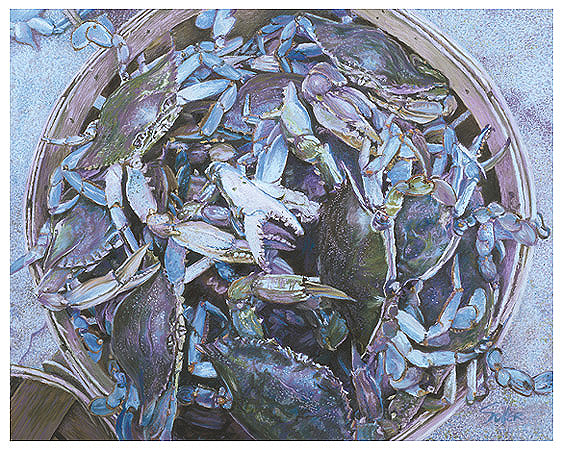 Blue Crabs, Original pastel painting by the fine artist Eric Soller