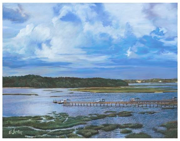 Hilton Head Marsh, Original pastel painting by the fine artist Eric Soller