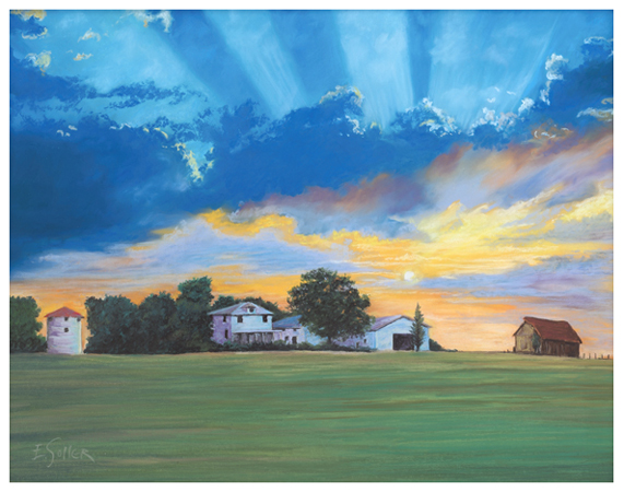 Midwest Farmland, Original pastel painting by the fine artist Eric Soller