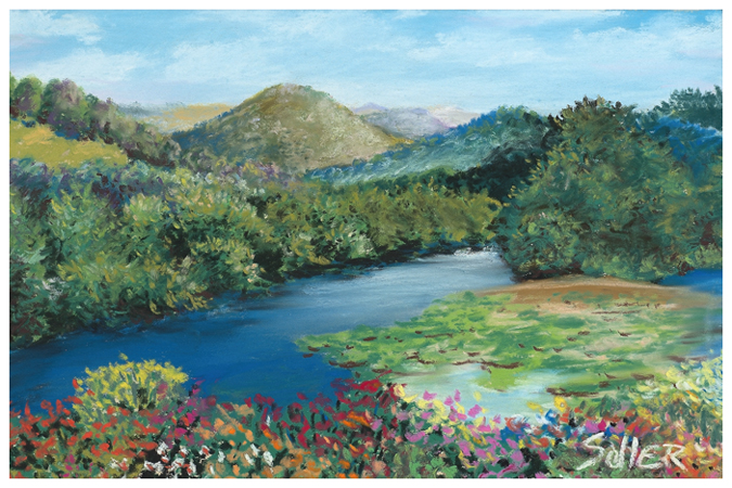 Mountain Flowers, Original pastel painting by the fine artist Eric Soller