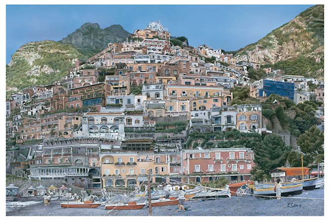 Positano, Original gouache painting by the fine artist Eric Soller